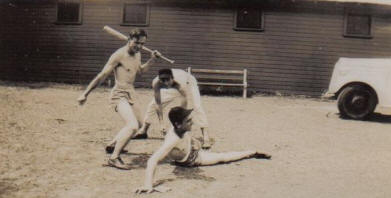 Cal playing baseball in the Army
